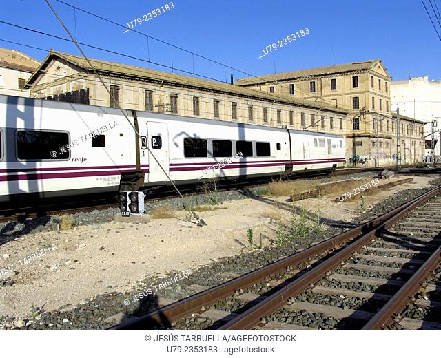 Passenger train at train station. Adif. Villena. Alicante. Valencia. Spain