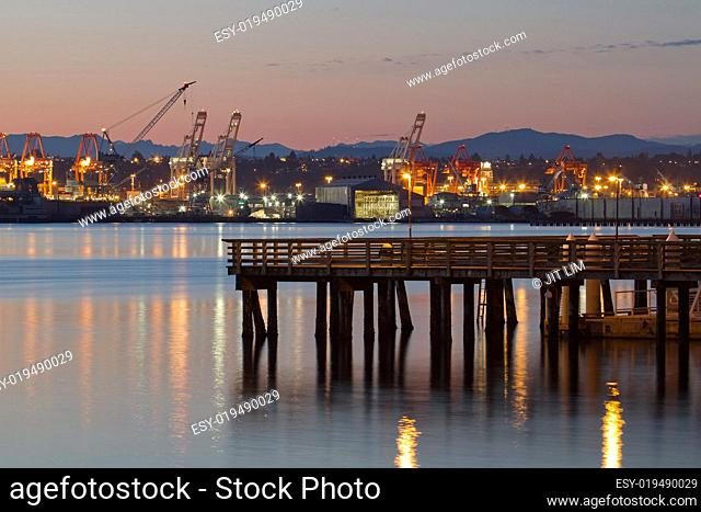 Fishing Pier at Alki Beach Seattle Washington