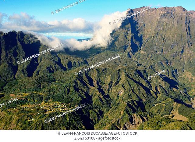Aerial view of the village of La Nouvelle in Mafate, Cirque of Mafate, Reunion Island, French overseas department, France, Indian Ocean