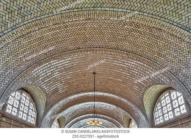 Vaulted Tile Ceiling Ellis Island NYC - Guastavino Tile Ceiling at the registry room in Ellis Island Liberty State Park. . . Guastavinoâ