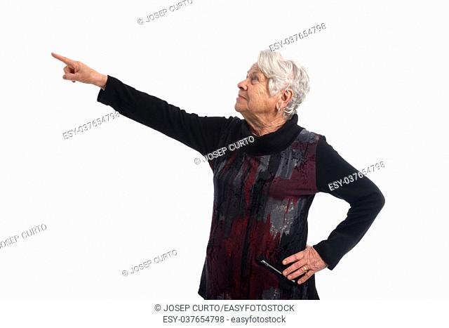 Elderly woman pointing