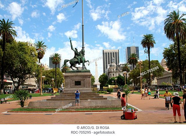 Equestrian Statue General Belgrano, May Square (Plaza de Mayo), Buenos Aires, Argentina