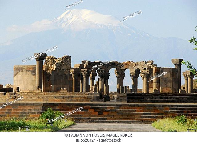 Zvarthnots' palace church in front of Ararat mountain, near Zvarthnots', Armavir province, Armenia