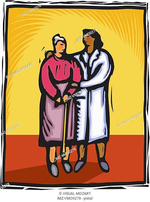 Senior patient being escorted by a nurse