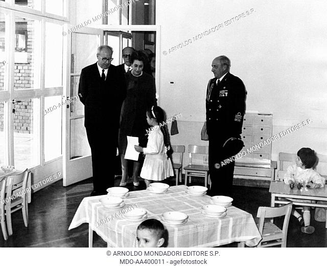 Giuseppe Saragat visiting the Montessori nursery school. President of the Italian Republic Giuseppe Saragat visiting the Montessori nursery school in the...
