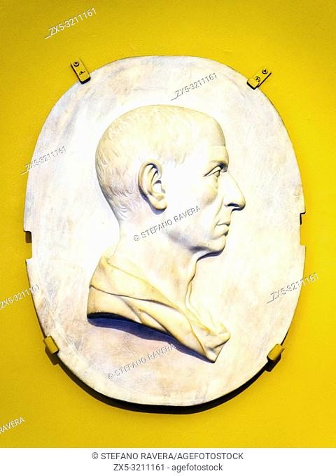 Relief portrait of an unidentified man. by Antonio Canova. signed and dated 1786. Marble