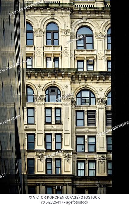 Detail of a facade of a building in Soho, Manhattan