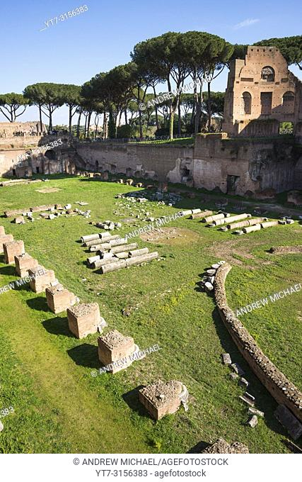 "The Stadium of Domitian (Stadio di Domiziano) or """"Circus Agonalis"""" on the Palatine (Palatino) hill, Rome, Italy"