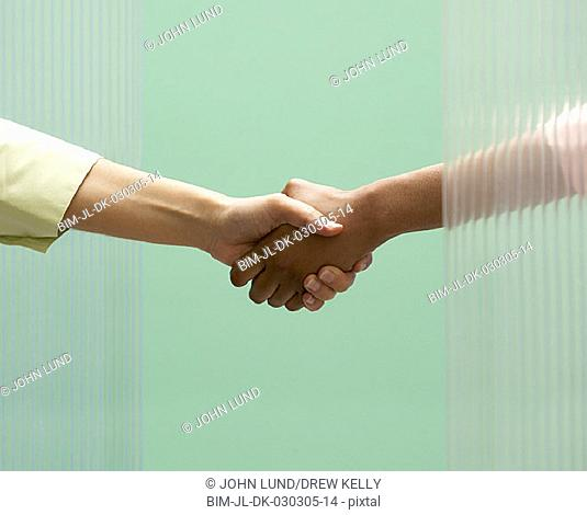 Close up of businesswomen shaking hands
