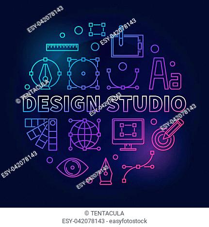 Design studio bright and colorful round vector illustration in thin line style on dark background