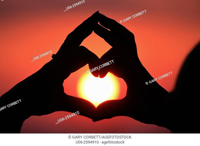 A person making the heart shape with fingers over the setting sun