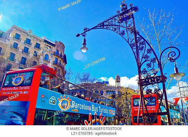 Touristic bus in Passeig de Gràcia. Barcelona, Catalonia, Spain