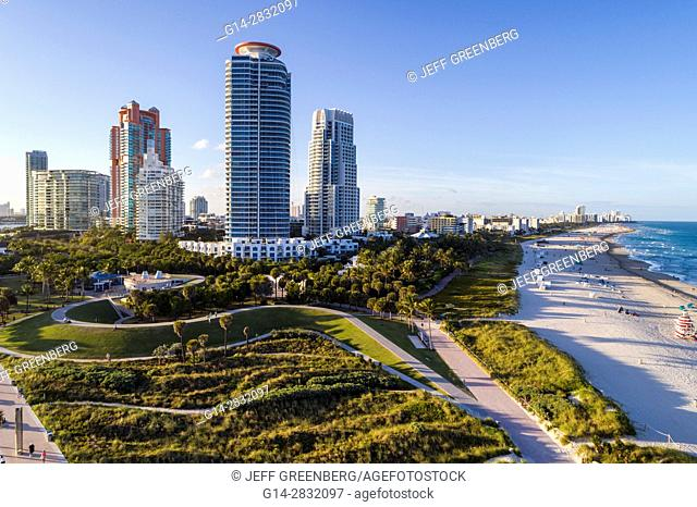 Florida, Miami Beach, South Pointe Park, high rise condominium buildings, Continuum, Portofino, aerial