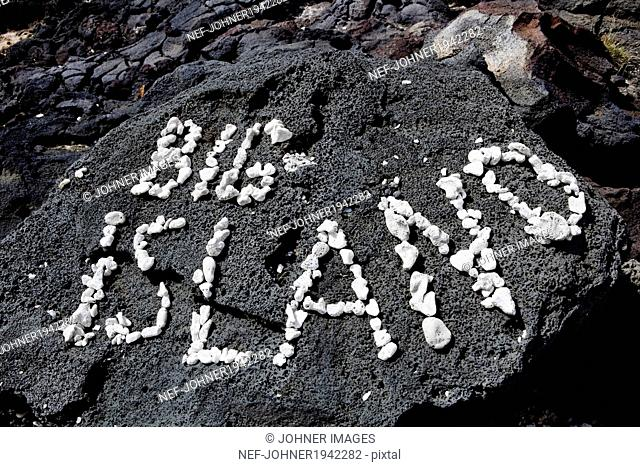 Big Island text on lava stone, Hawaii, USA
