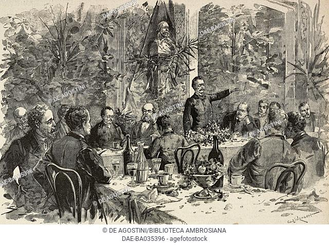 Felice Cavallotti speaking at the Eden banquet in Milan with colleagues Maffi, Marcora and Mussi, November 12, 1890, drawing by C Linzaghi