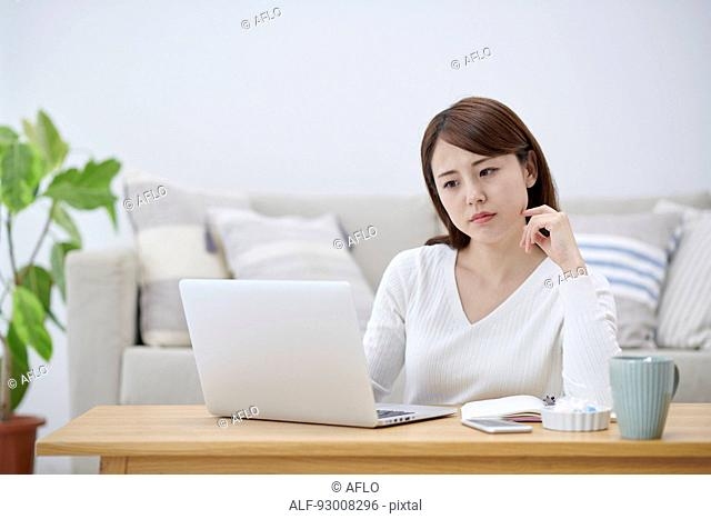 Japanese woman working remotely