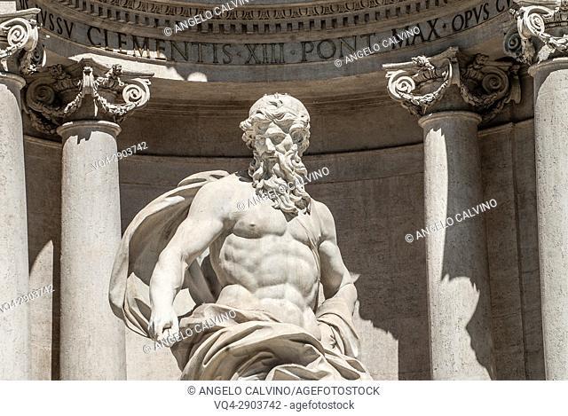 Details of The Trevi Fountain, Fontana di Trevi, Rome, Lazio, Italy