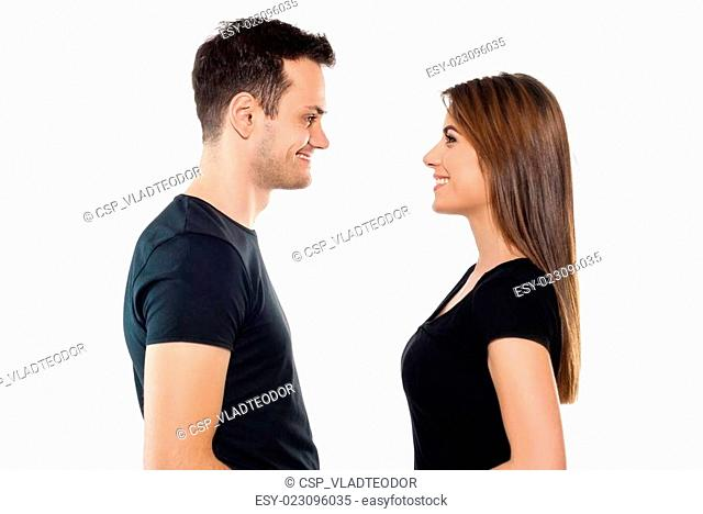 Young man and girl in black T-shirt