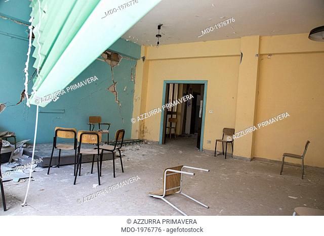 A classroom in an abandoned school. L'Aquila (Italy), 20th May 2014