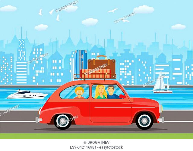 Happy family traveling by car with a luggage bags on the roof. . Urban a landscape with skyscrapers vector illustration in flat design