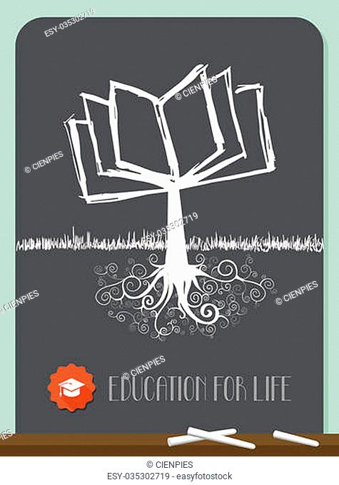Education concept tree chalkboard illustration. Vector file layered for easy manipulation and custom coloring
