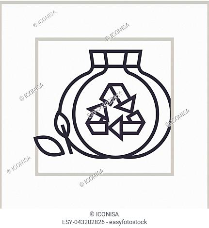 sorted garbage concept vector thin line icon, sign, symbol, illustration on isolated background