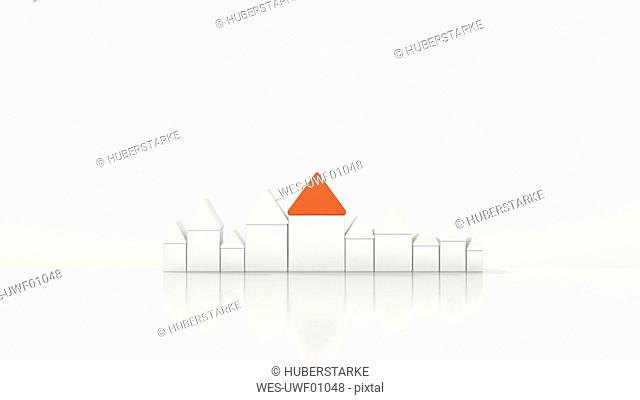 House with red roof amidst white houses, 3d rendering