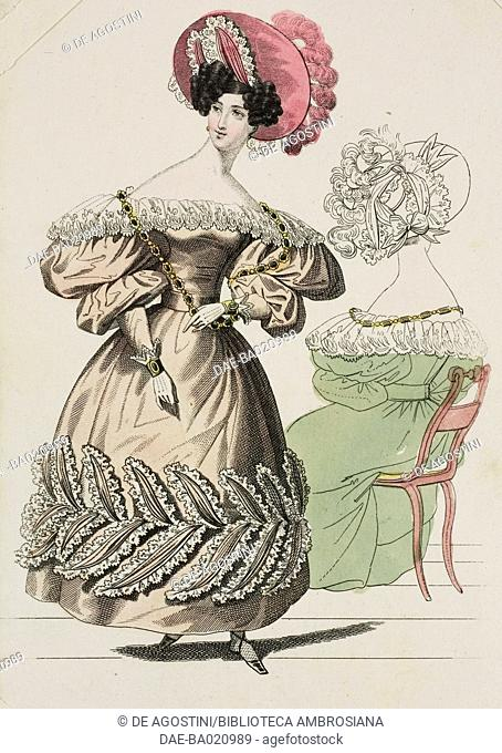 Woman wearing a light brown dress with puffed sleeves, with lace-trimmed beaded leaf decorations on the skirt, pink hat adorned with lace and feathers