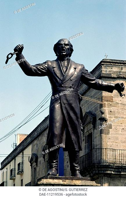 Statue of Miguel Hidalgo y Costilla (1753-1811) breaking the chains of slavery, Liberation square, Guadalajara, Jalisco State, Mexico