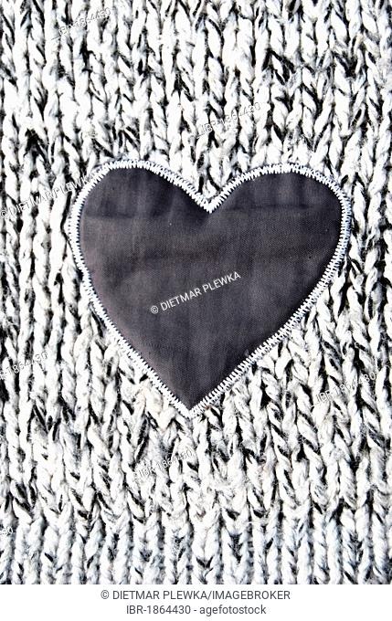Heart, application on knitted cloth