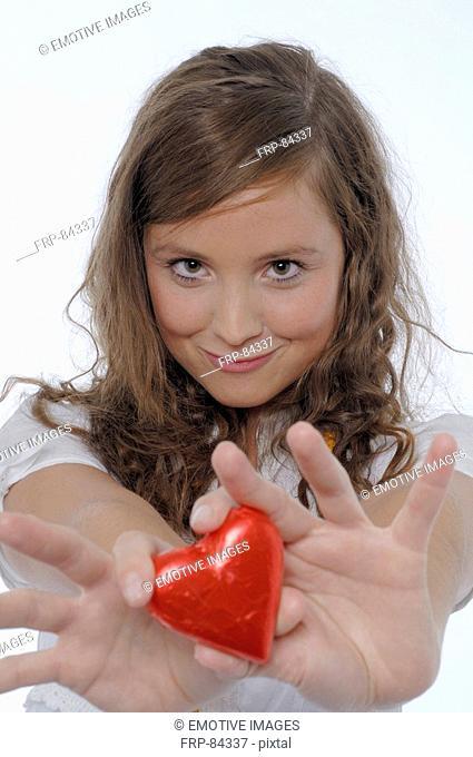 Girl with chocolate heart