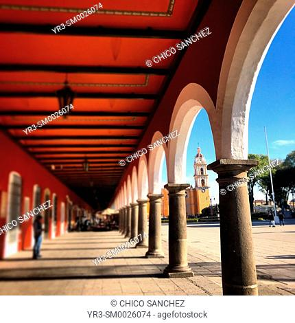 The arches of the main square of Cholula, Puebla, Mexico