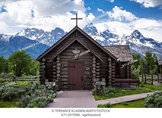 The Church of the Transfiguration Chapel and mountains in the Grand Teton National Park, Wyoming, USA