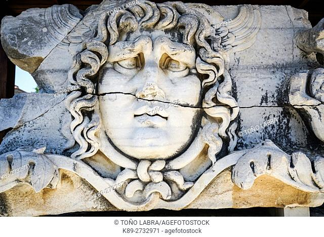 Medusa Head. Temple of Apollo. Didyma. Ancient Classic Greece. Asia Minor. Turkey