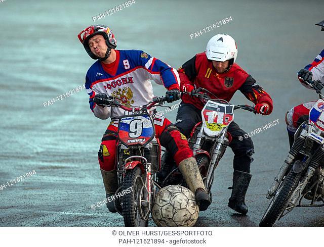 Manuel Fitterer (GER) versus left Ivan Krischtopa (RUS). GES / Motoball / European Championship, Final: Germany - Russia, 22.06.2019