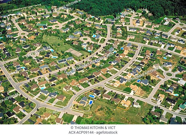 Aerial view of subdivision housing pattern, summer, Niagara Region, Ontario, Canada