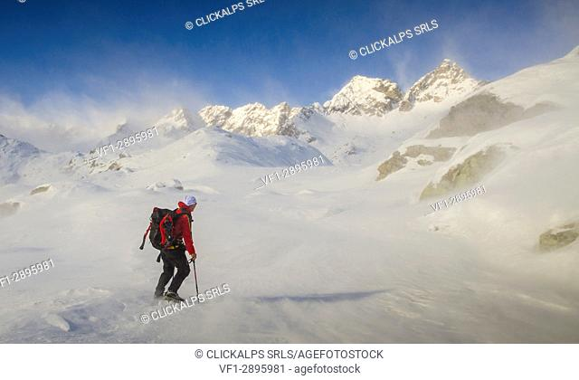 Alpinist is smacked by the strong wind (Soana valley, Gran Paradiso National Park, Piedmont)