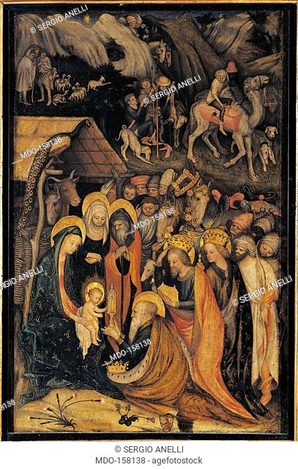 Adoration of the Magi, by Unknown Artist, 1435 about, 15th Century, tempera and oil on panel, cm 72 x 47. Italy, Lombardy, Milan, Brera Art Gallery