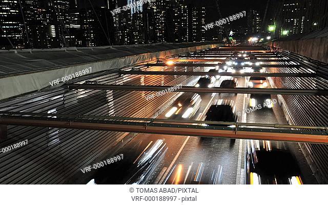 Traffic on the Brooklyn Bridge, New York City, USA