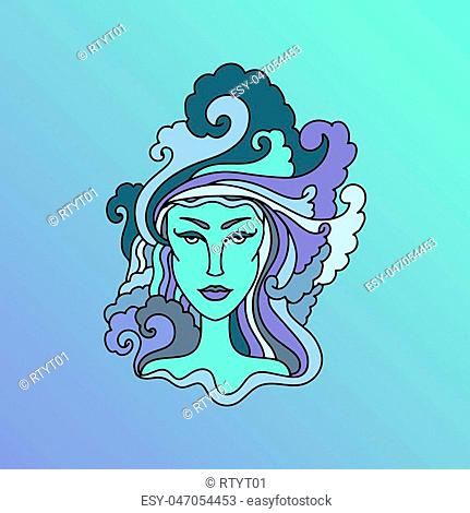 Portrait of aquarius woman zodiac sign Stock Photos and