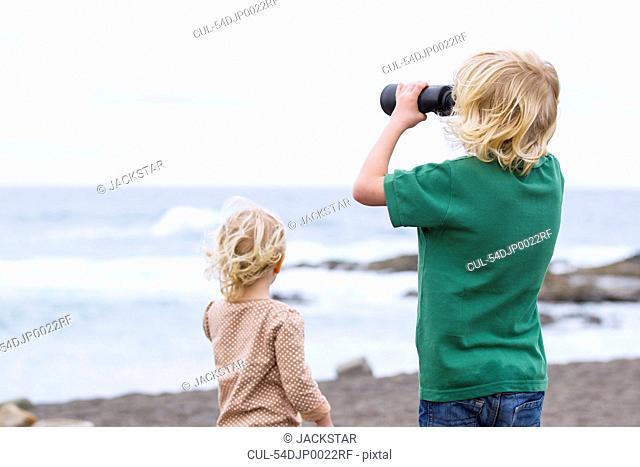 Children standing together on beach