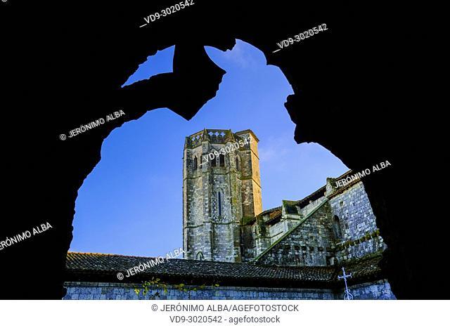 Collegiate Saint-Pierre, cloister and tower. Village of La Romieu on the way of Saint Jacques de Compostelle. Le Gers Department, New Aquitaine, Midi Pyerenees