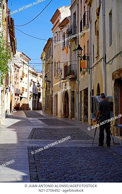 Painting a quiet street in the town of Caldes de Montbui, famous for its thermal waters and spas. Barcelona, Catalonia, Spain, Europe