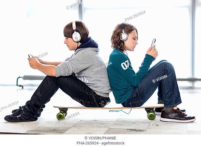 Teenagers using smartphone