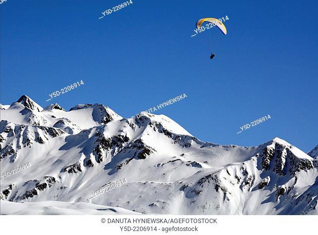 Paragliding over Swiss Alps, Bernese Alps, Fiescheralp, canton Valais, Switzerland