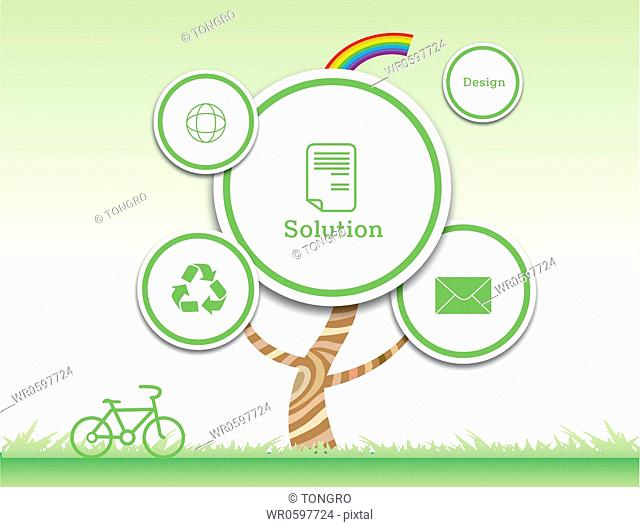 The web icons tree with green bike