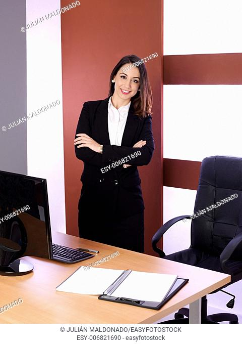 Young attractive business woman in their jobs