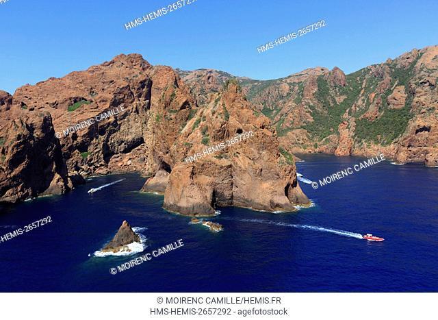 France, Corse du Sud, Scandola Nature Reserve, Osani, Cala di Gattaia (aerial view)