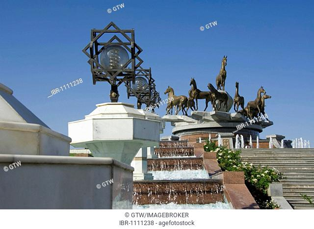 Monument of the 10th anniversary of Independence and Akhal-teke horses fountain, Ashgabat, Turkmenistan