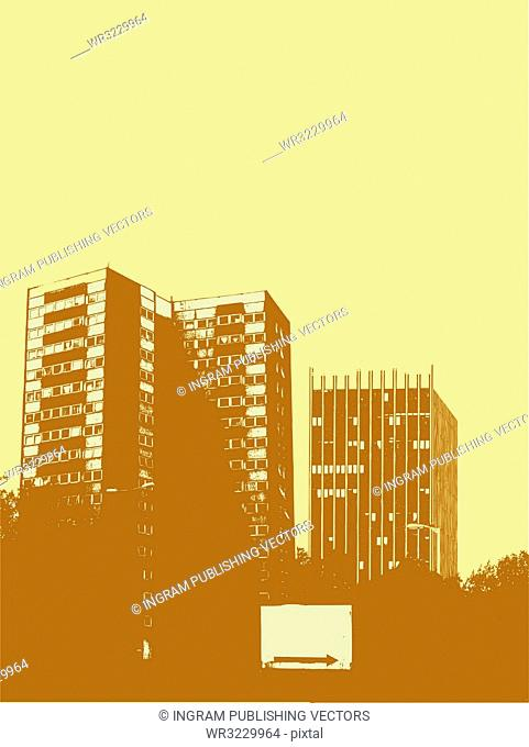 City centre scene in yellow and brown with a arrow sign with room to add your own text